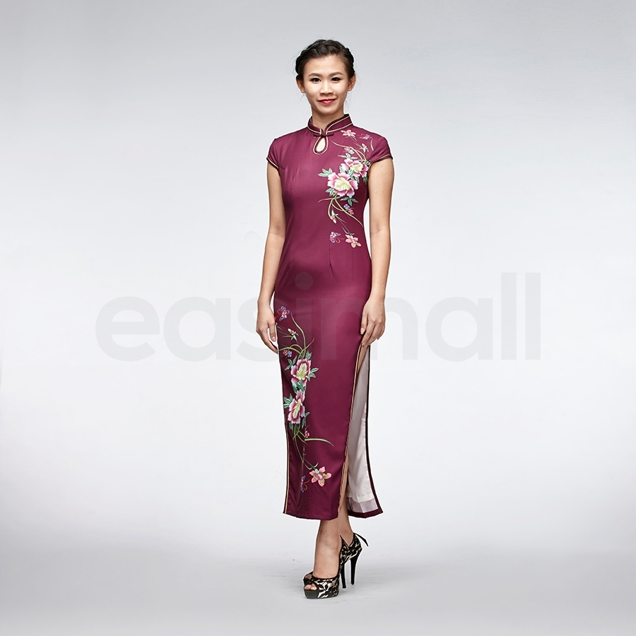Picture of Wine Red Woolen Chinese Cheongsam