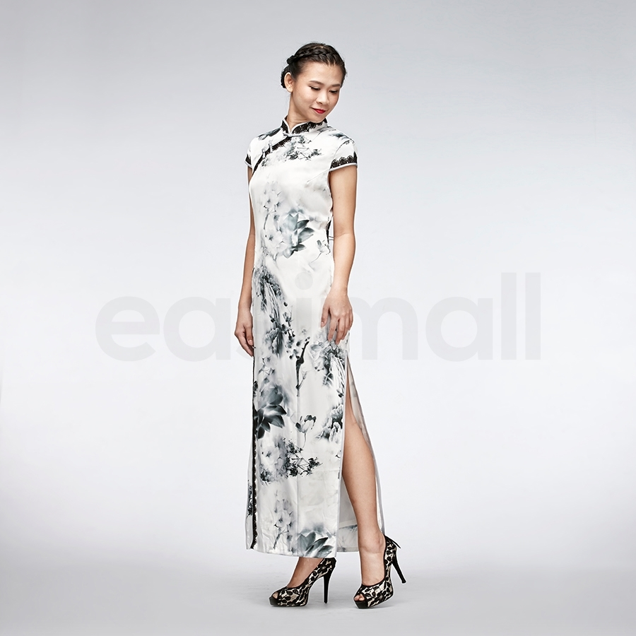 Picture of Floral Long White Silk Cheongsam