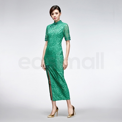 Picture of Green Flower Shape Pattern Lace Long Chinese Cheongsam Summer Dress