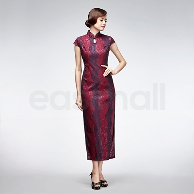 Picture of Modern Dark Red Lace Cheongsam
