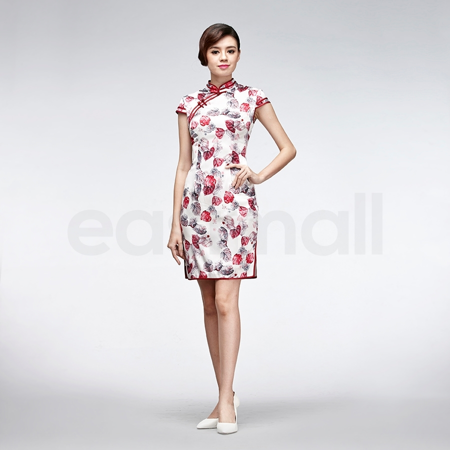 Picture of Short White Silk Cheongsam