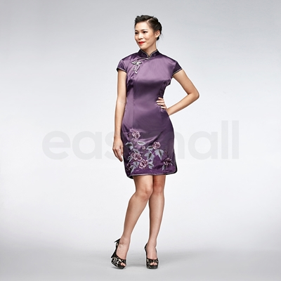 Picture of Dark Purple Vintage Floral Embroidery Short Cheongsam Qipao Dress