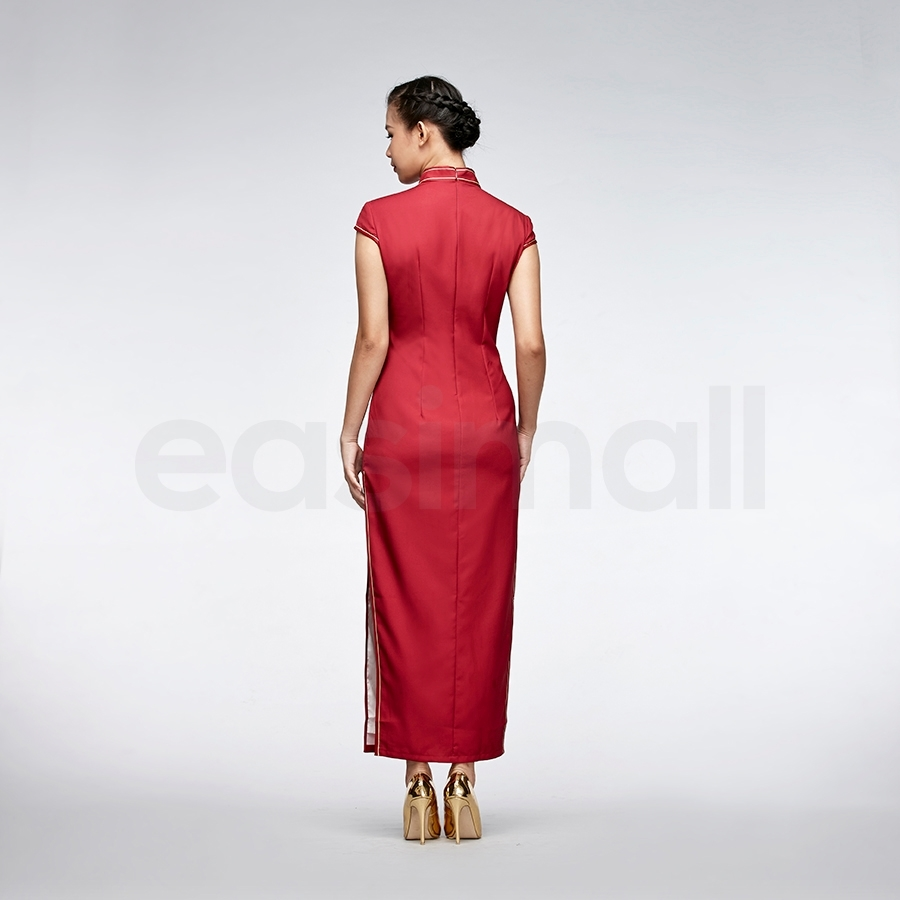 Picture of Bell Sleeve Red Qipao Vintage Long Chinese Qipao Cheongsam