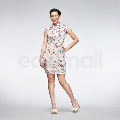 Picture of Bird And Floral Painting Casual Qipao Short Light Sliver Grey Chinese Cheongsam Dress