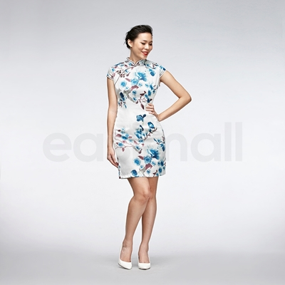 Picture of Blue Floral Painting Cheongsam