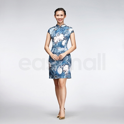 Picture of Floral Painting Casual Qipao Short Blue And White Chinese Cheongsam Dress