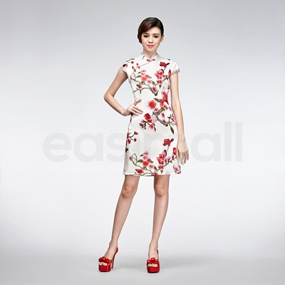 Picture of Floral Painting Casual Qipao Short Chinese White Silk Cheongsam Dress