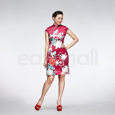 Picture of Bird And Floral Painting Casual Qipao Short Red Silk Chinese Cheongsam Dress