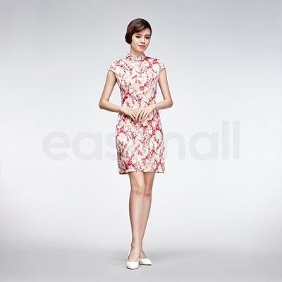 Picture of Red Floral Painting Casual Qipao Short Chinese White Silk Cheongsam Dress